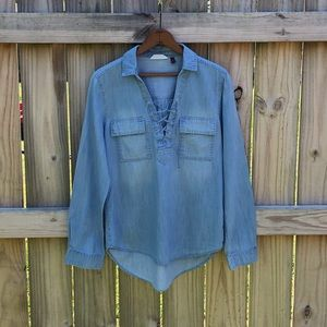 So Lace Up High Low Chambray Blouse